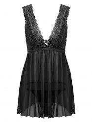 Lace Low Cut Mesh Sheer Babydoll - BLACK ONE SIZE