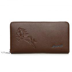 Zipper Around Embossed Wallet - KHAKI