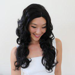 Gracefully Long Side Parting Black Loose Wave Women's Synthetic Hair Wig -