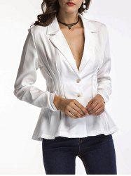 Long Sleeve Fitted Peplum Blazer - WHITE L
