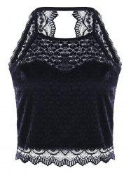 Lace Open Back Scalloped Tank Top - BLACK M