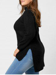Plus Size High Low Raglan Sleeve Slit Sweater -