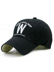 Embroidery and W Shape Baseball Hat -