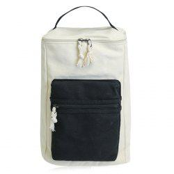 Canvas Colour Block Zippers Backpack - BLACK