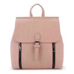 Buckle Strap Double Zippers Backpack -