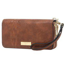 Embossing Leather Double Zippers Wristlet Wallet -