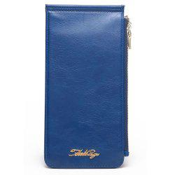 Zip Faux Leather Wallet - BLUE VERTICAL