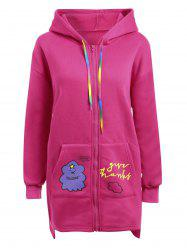 Plus Size Fleece Zipper Long Pocket Hoodie Coat -
