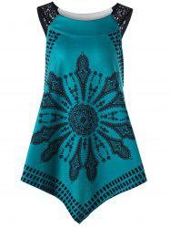 Tribal Print Lace Insert Asymmetrical Tank Top -