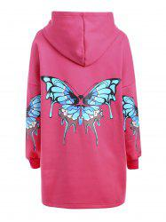 Plus Size Butterfly Printed Zip Up Hooded Coat - RED 3XL