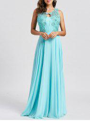 Floral Lace Keyhole Rhinestone Embellished Evening Dress -