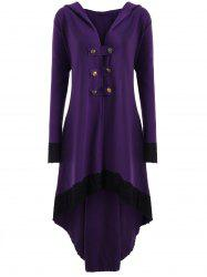 High Low Hooded Plus Size Lace-up Coat -