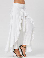 Ruffle Tie Front Flowy Skirted Pants - WHITE 2XL