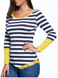 Button Embellished Striped Asymmetric Top -