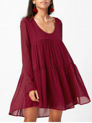 Scoop Collar Long Sleeves Loose-Fitting Chiffon Tunic Dress -