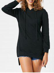 Slit High Low Long Sleeve Hoodie -
