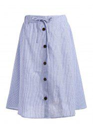Plus Size Button Embellished Striped Drawstring Skirt -