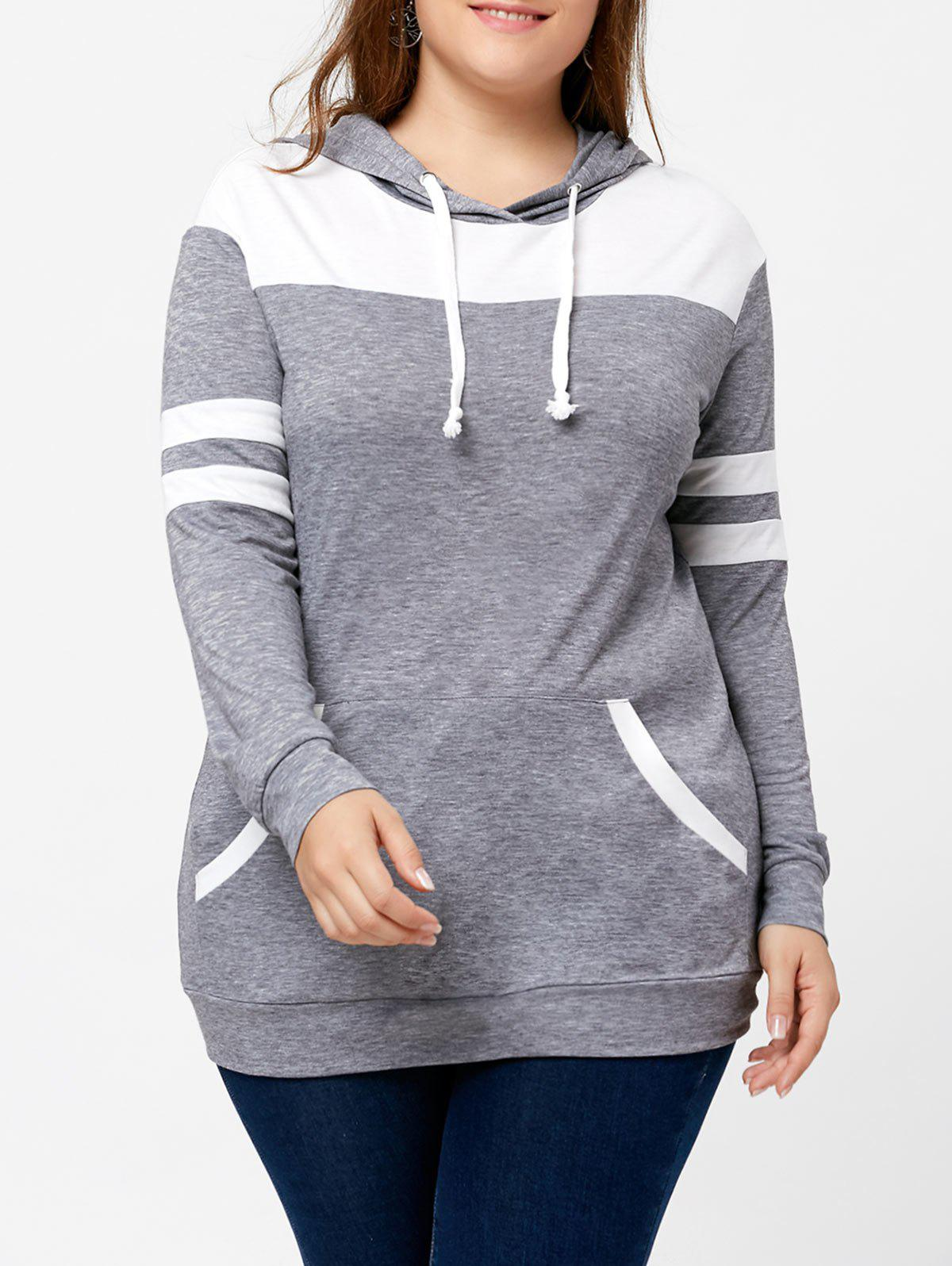 Plus Size Pullover Kangaroo Pocket Two Tone HoodieWOMEN<br><br>Size: 4XL; Color: GREY AND WHITE; Material: Cotton,Polyester; Shirt Length: Long; Sleeve Length: Full; Style: Casual; Pattern Style: Others; Embellishment: Front Pocket; Season: Fall,Spring; Weight: 0.3900kg; Package Contents: 1 x Hoodie;