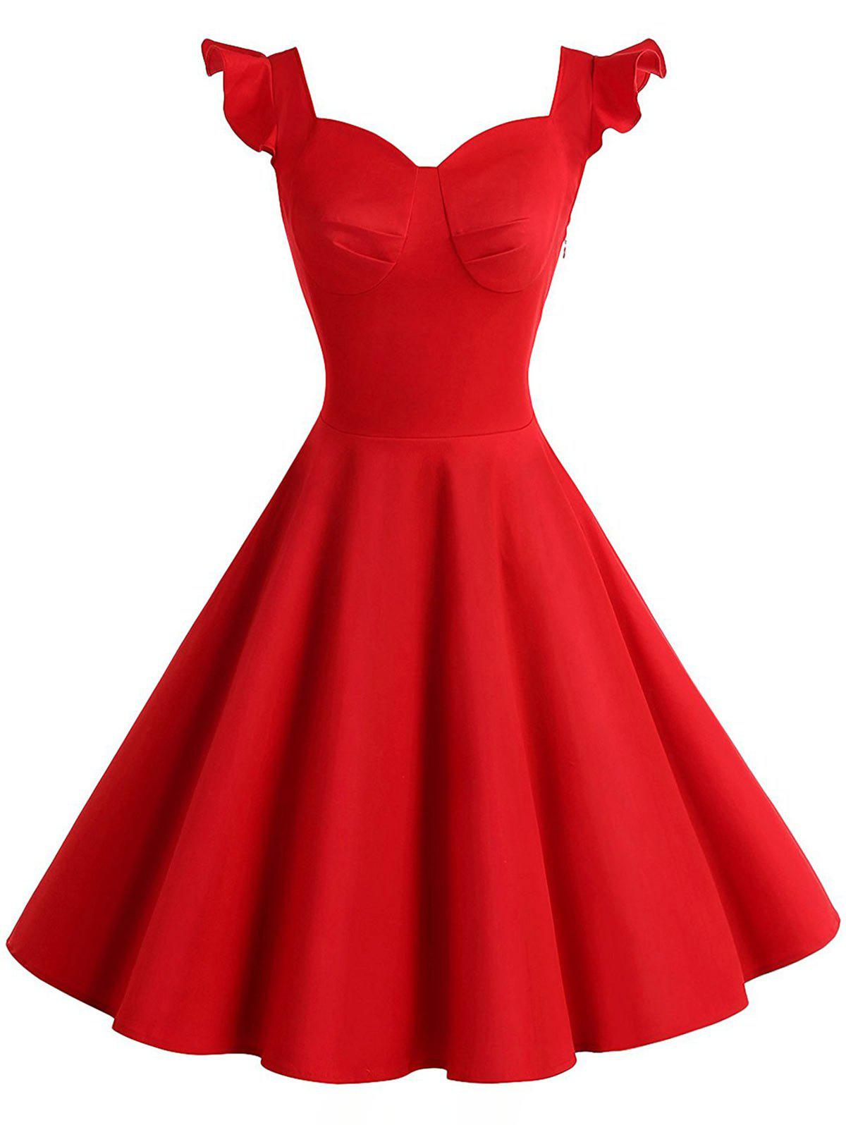 Vintage Cut Out Flounce Pinup DressWOMEN<br><br>Size: XL; Color: RED; Style: Vintage; Material: Cotton,Polyester; Silhouette: A-Line; Dresses Length: Knee-Length; Neckline: Sweetheart Neck; Sleeve Type: Cap Sleeve; Sleeve Length: Short Sleeves; Pattern Type: Solid Color; With Belt: No; Season: Fall,Spring,Summer; Weight: 0.3500kg; Package Contents: 1 x Dress;