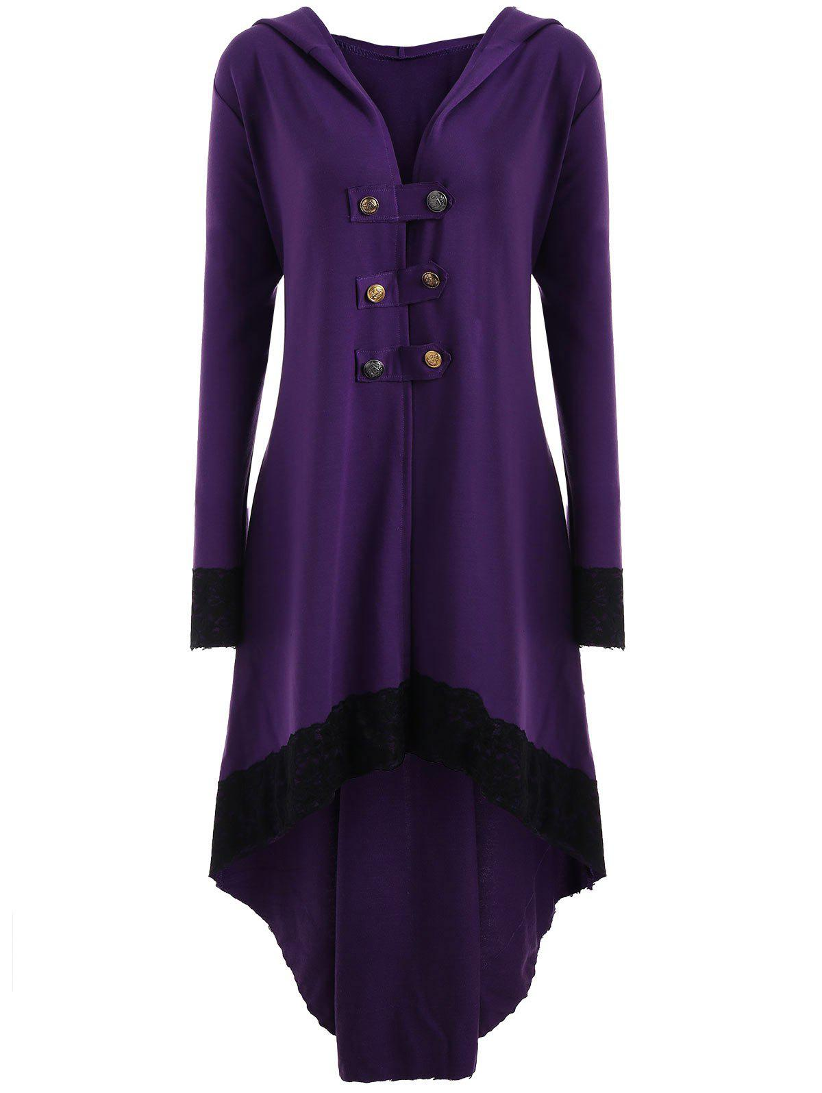 High Low Hooded Plus Size Lace-up CoatWOMEN<br><br>Size: 5XL; Color: PURPLE; Clothes Type: Others; Material: Polyester,Spandex; Type: Asymmetric Length; Shirt Length: Long; Sleeve Length: Full; Collar: Hooded; Pattern Type: Solid; Style: Fashion; Season: Fall,Spring; Weight: 0.6200kg; Package Contents: 1 x Coat;