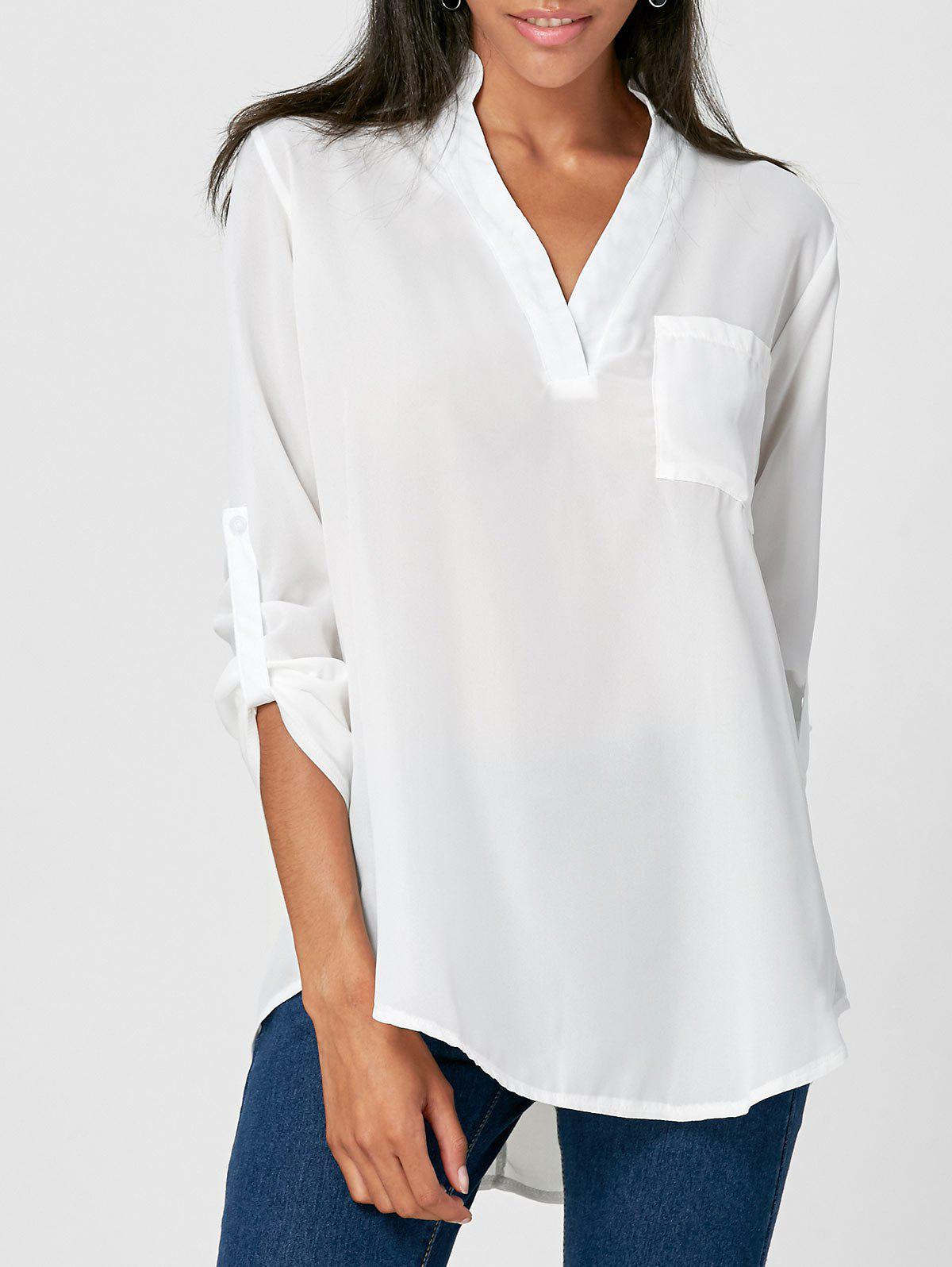 79 Off 2019 Simple V Neck Solid Color 3 4 Sleeve Blouse For Women