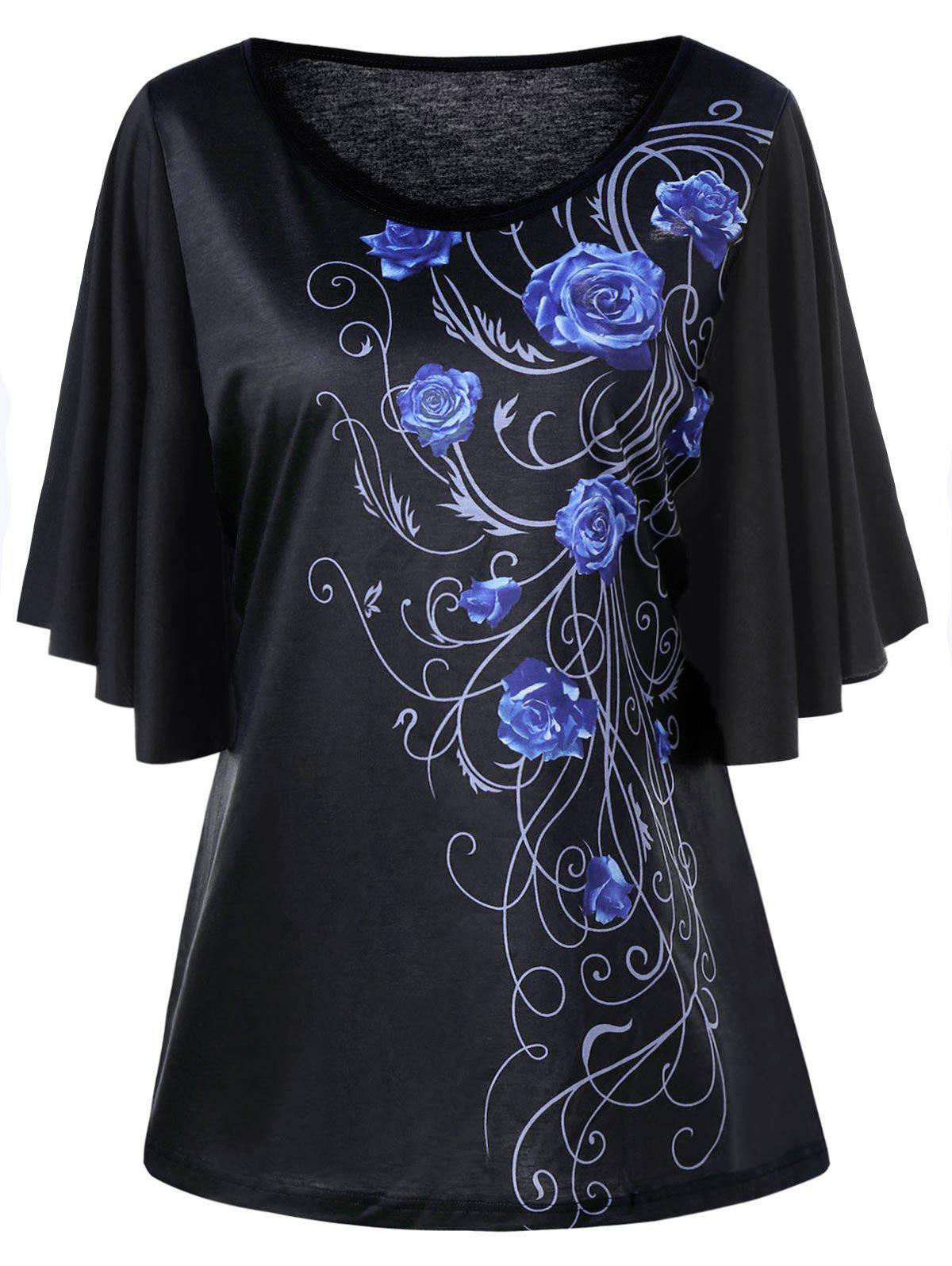 Plus Size Floral Drape Sleeve T-shirtWOMEN<br><br>Size: 3XL; Color: BLUE; Material: Polyester,Spandex; Shirt Length: Long; Sleeve Length: Short; Collar: Round Neck; Style: Casual; Season: Fall,Spring,Summer; Pattern Type: Floral; Weight: 0.2700kg; Package Contents: 1 x T-shirt;