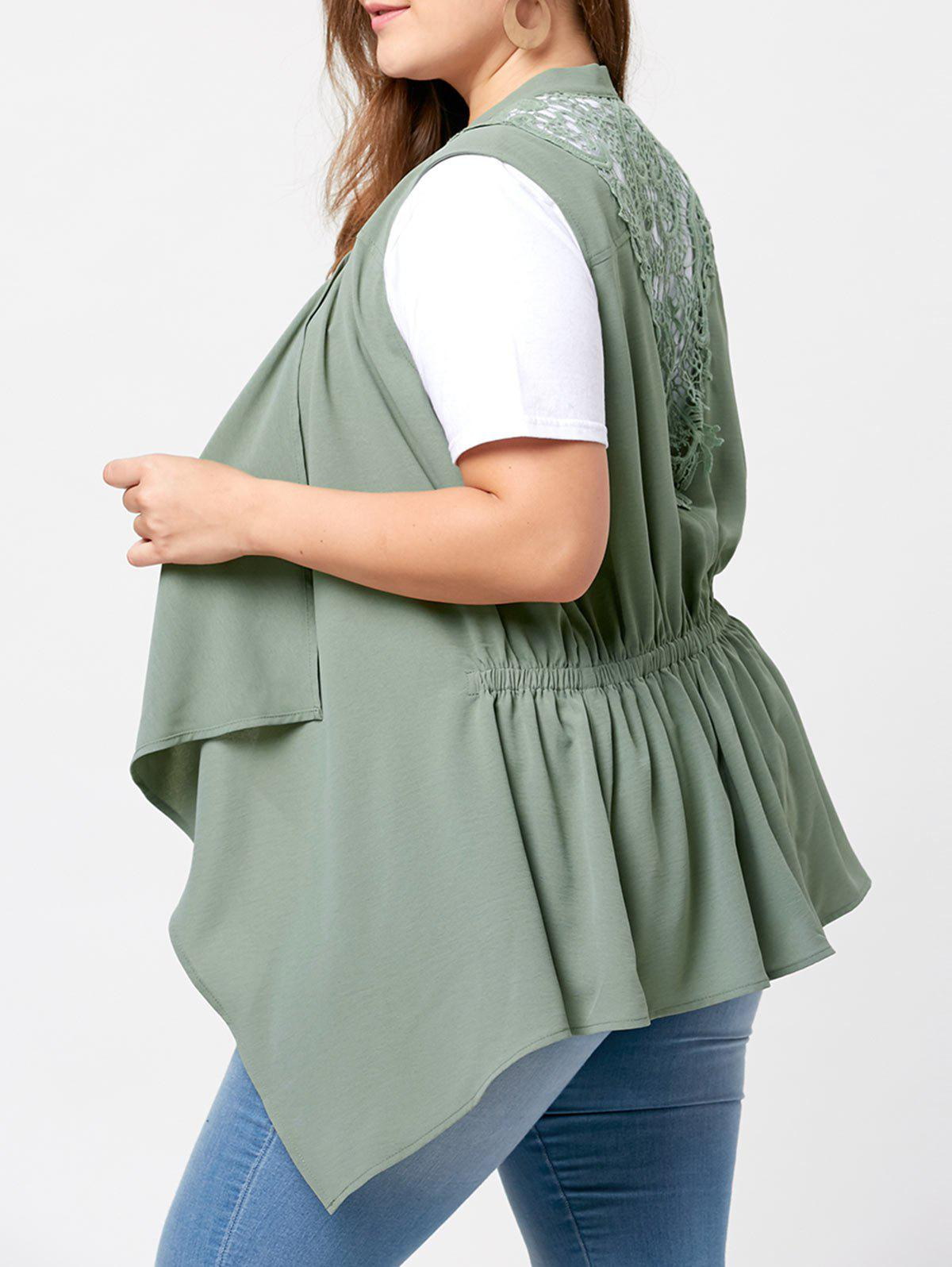 Discount Plus Size Lace Panel  Waterfall Wasitcoat
