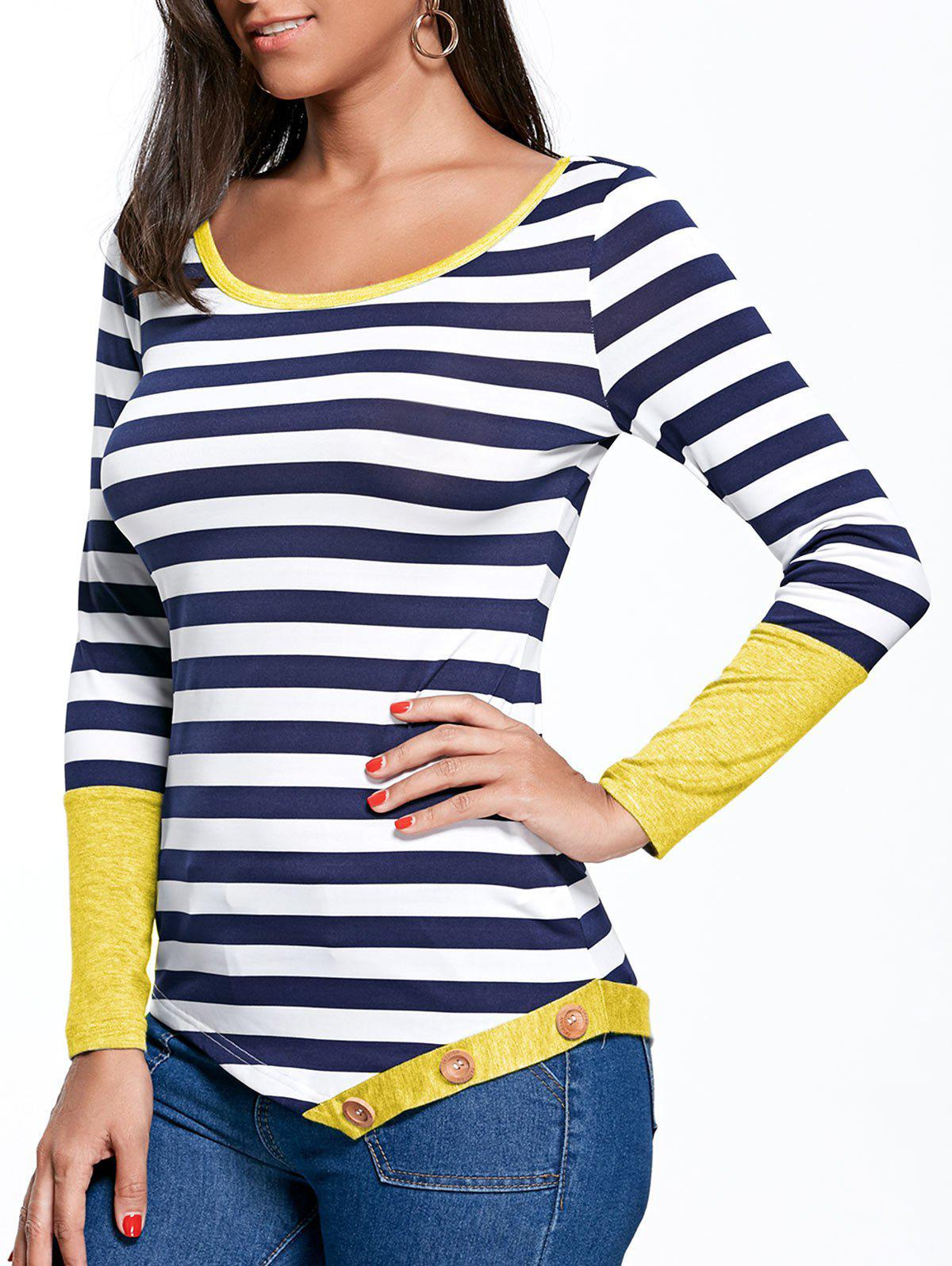 Best Button Embellished Striped Asymmetric Top