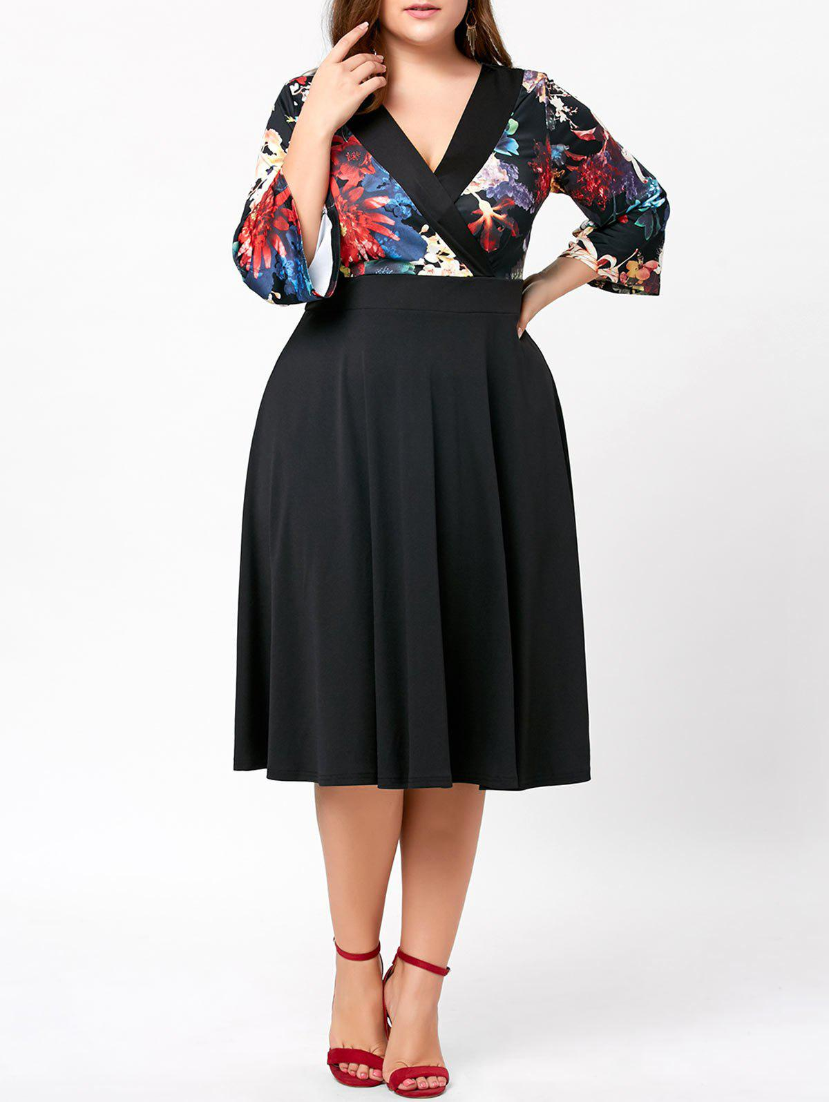 Plus Size Floral Midi DressWOMEN<br><br>Size: 4XL; Color: BLACK; Style: Brief; Material: Polyester,Spandex; Silhouette: A-Line; Dresses Length: Mid-Calf; Neckline: V-Neck; Sleeve Length: 3/4 Length Sleeves; Pattern Type: Floral; With Belt: No; Season: Fall,Spring,Summer; Weight: 0.4700kg; Package Contents: 1 x Dress;