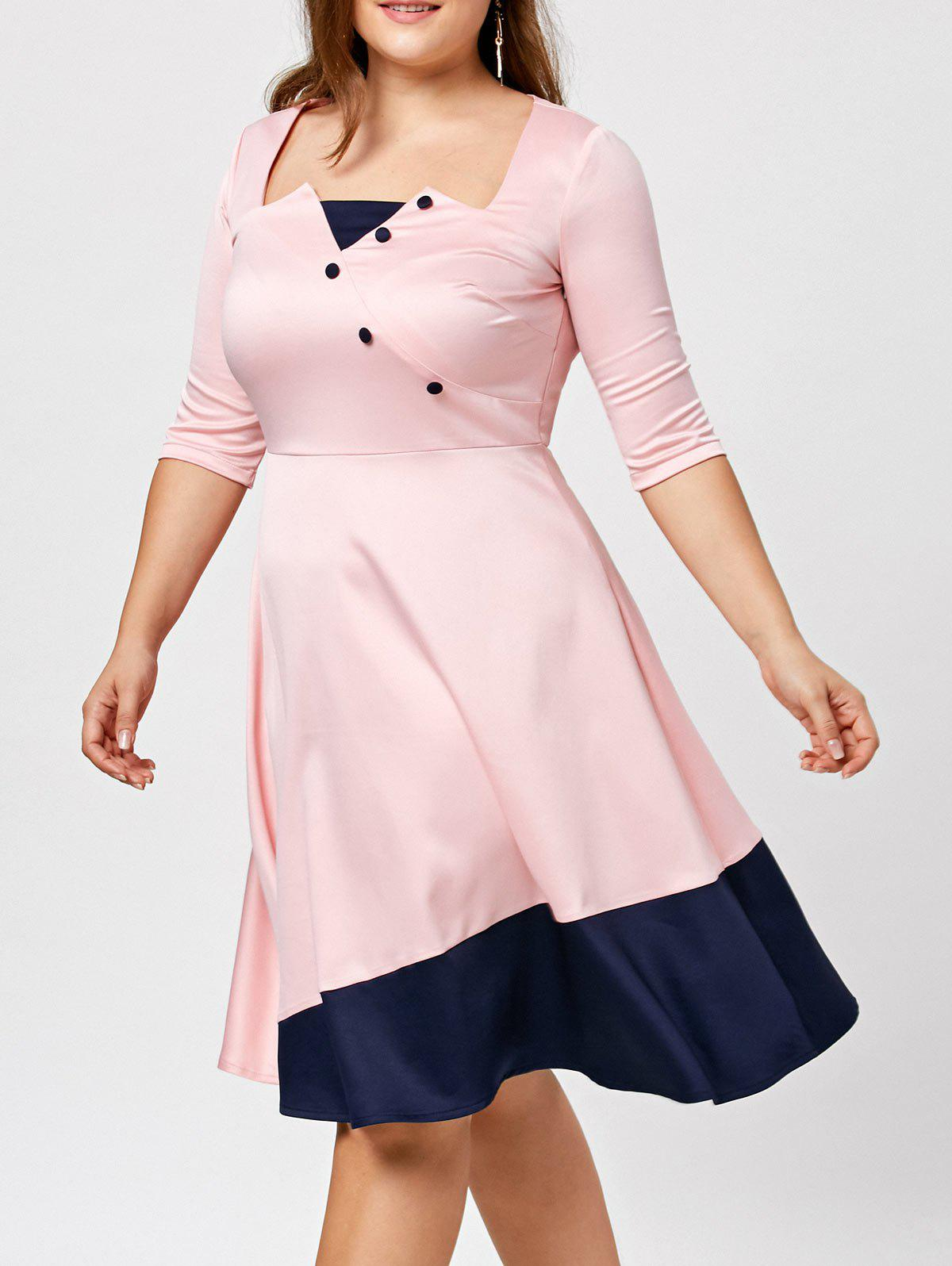 Color Block Plus Size DressWOMEN<br><br>Size: 3XL; Color: PINK; Style: Brief; Material: Cotton,Polyester; Silhouette: A-Line; Dresses Length: Knee-Length; Neckline: Square Collar; Sleeve Length: 3/4 Length Sleeves; Pattern Type: Patchwork; With Belt: No; Season: Fall,Spring; Weight: 0.4000kg; Package Contents: 1 x Dress;