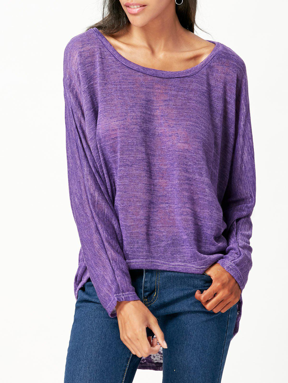 Hot Women's Stylish Pullover Long Sleeve Scoop Neck Solid Color Blouse