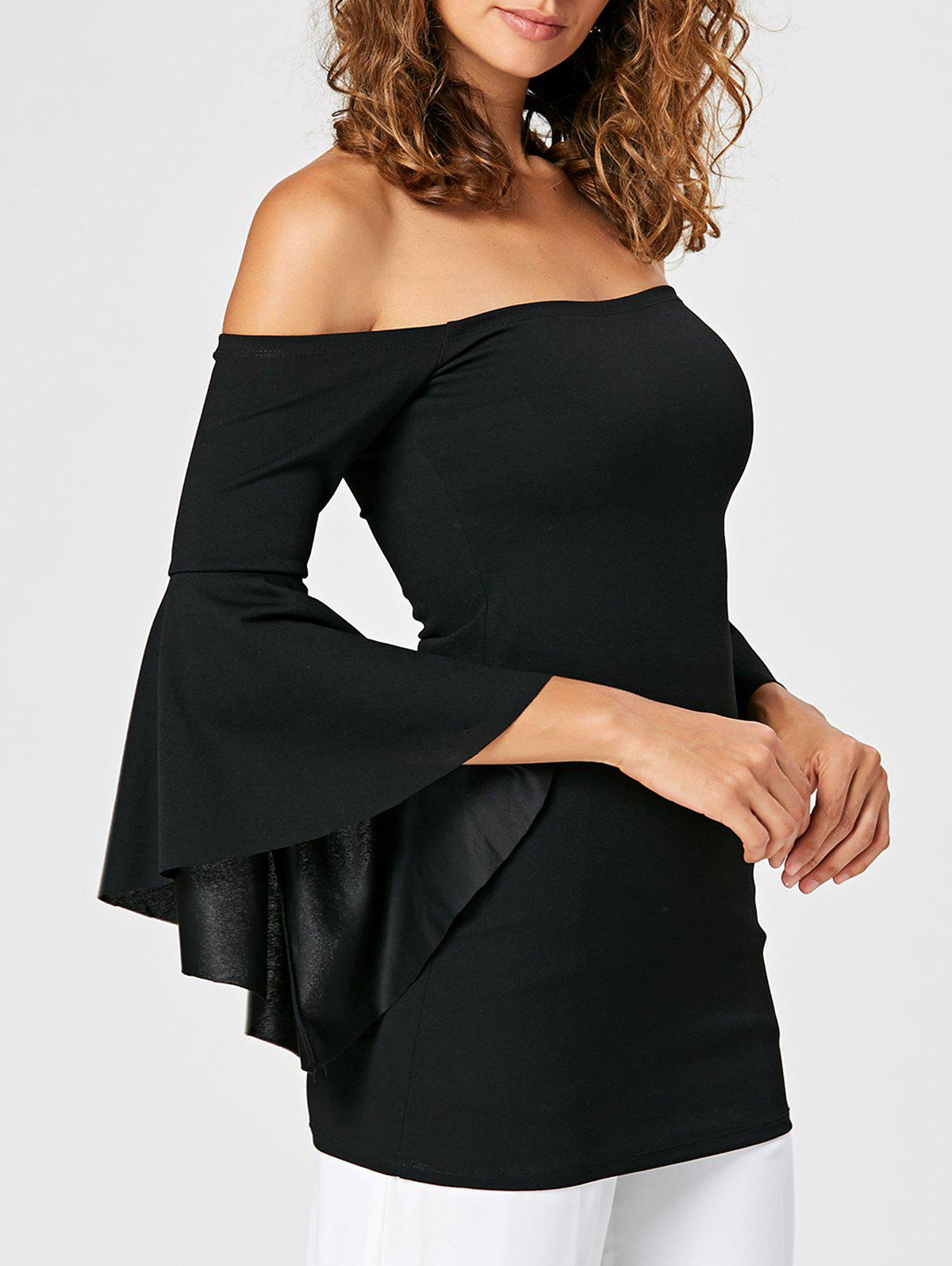 Flare Sleeve Fitted Off The Shoulder BlouseWOMEN<br><br>Size: L; Color: BLACK; Material: Polyester; Shirt Length: Long; Sleeve Length: Full; Collar: Off The Shoulder; Style: Fashion; Pattern Type: Solid; Season: Fall,Spring; Weight: 0.3200kg; Package Contents: 1 x Blouse;