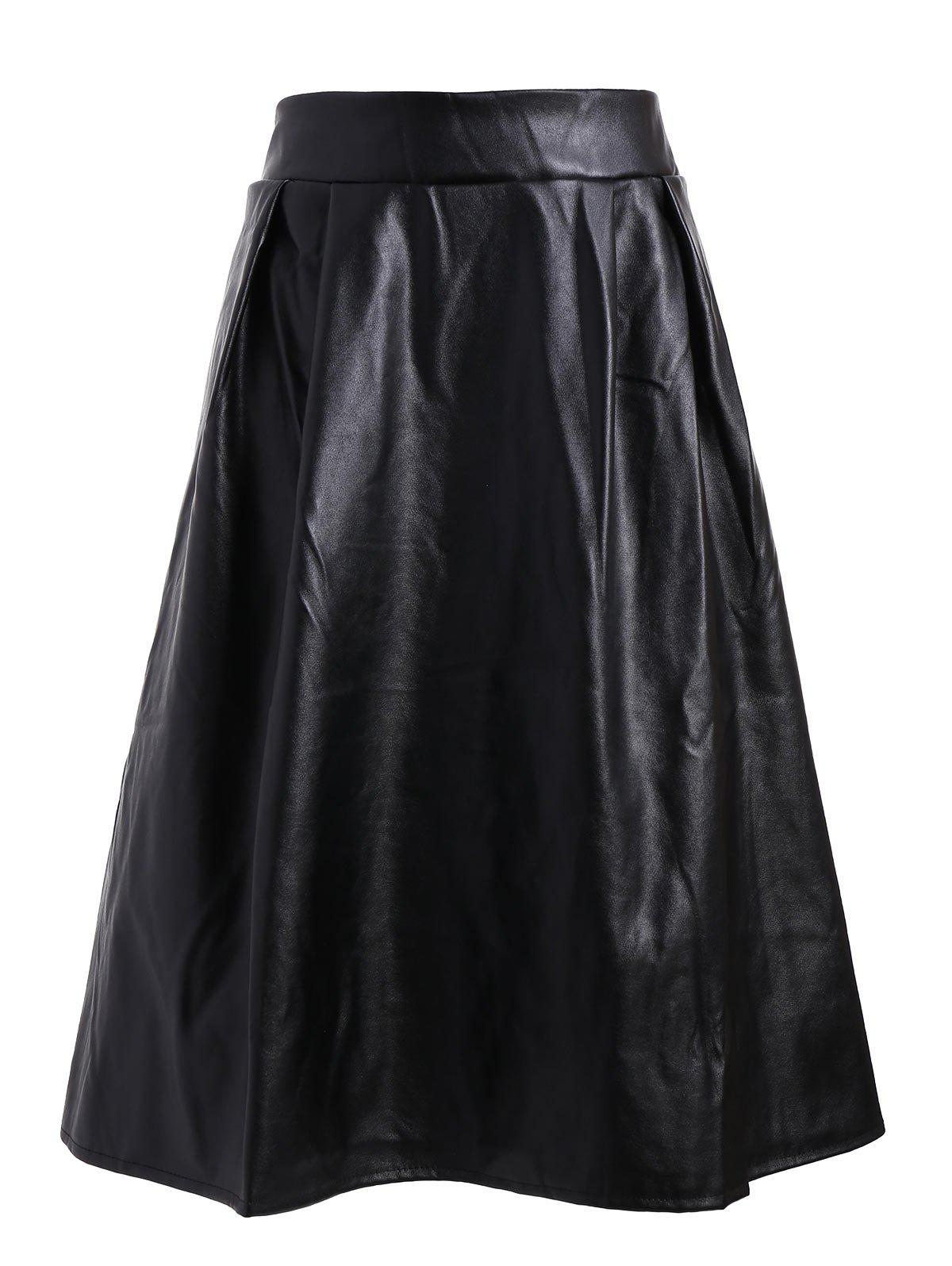 Plus Size Midi Faux Leather SkirtWOMEN<br><br>Size: 3XL; Color: BLACK; Material: Cotton,Polyester,PU; Length: Mid-Calf; Silhouette: A-Line; Pattern Type: Solid; Season: Fall; Weight: 0.4500kg; Package Contents: 1 x Skirt;