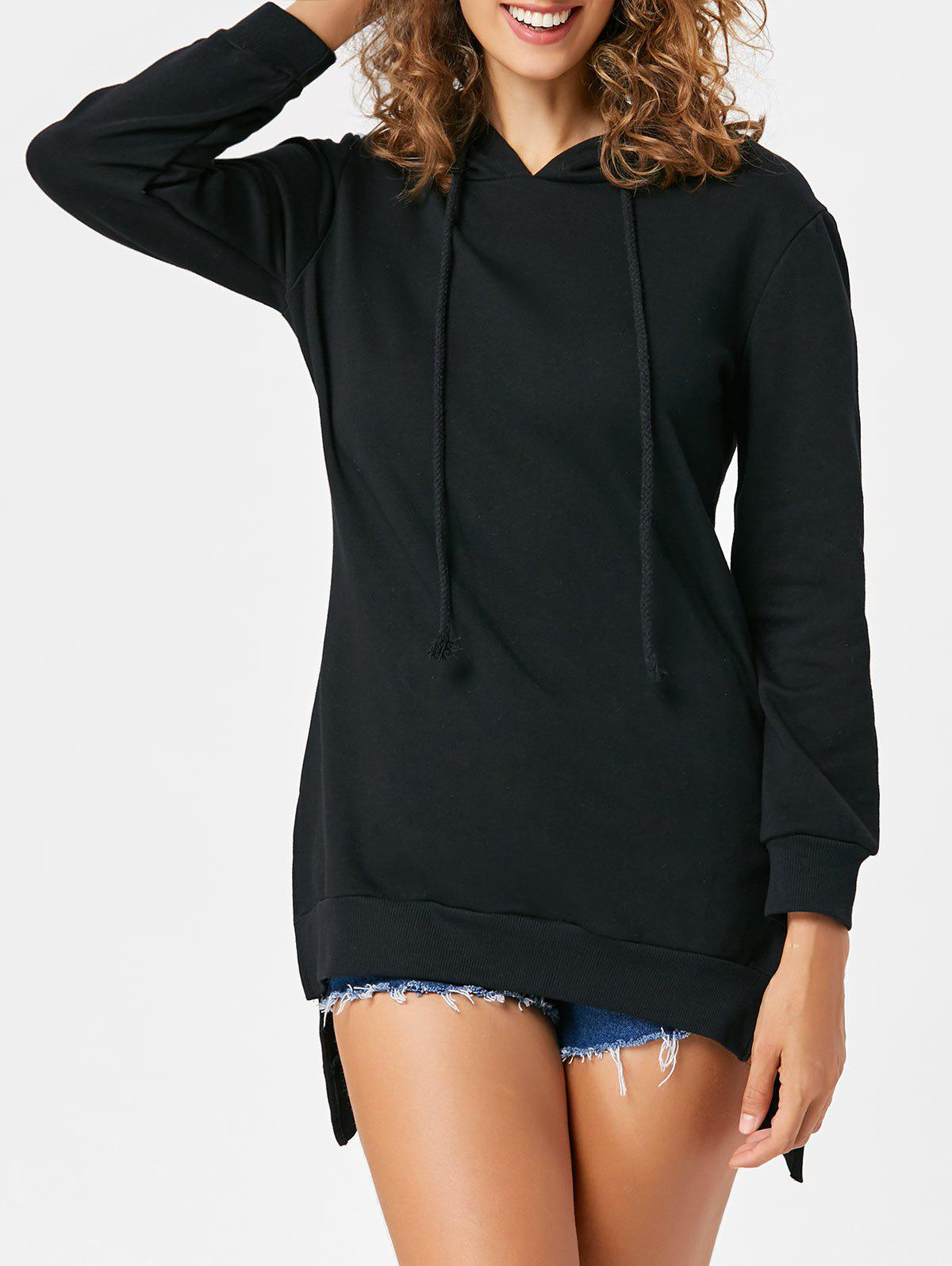 Discount Slit High Low Long Sleeve Hoodie