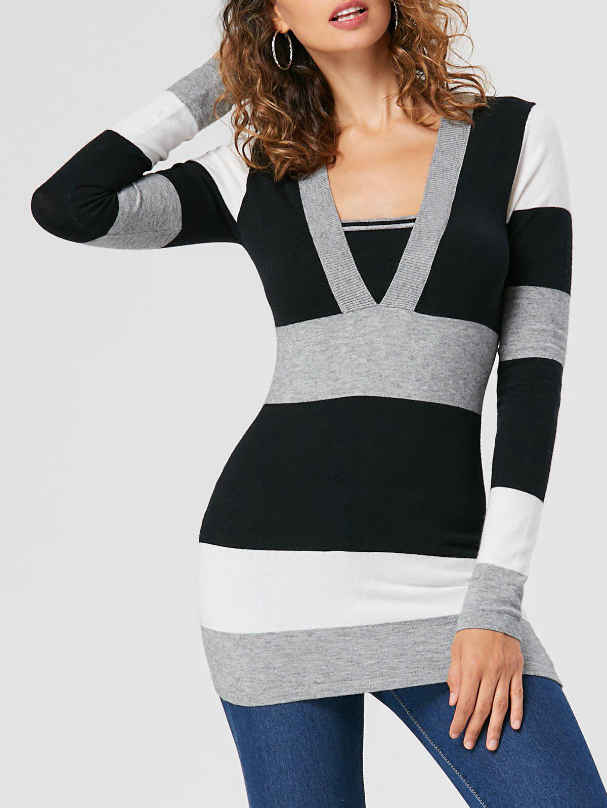 Affordable Empire Waist Striped Slim Sweater