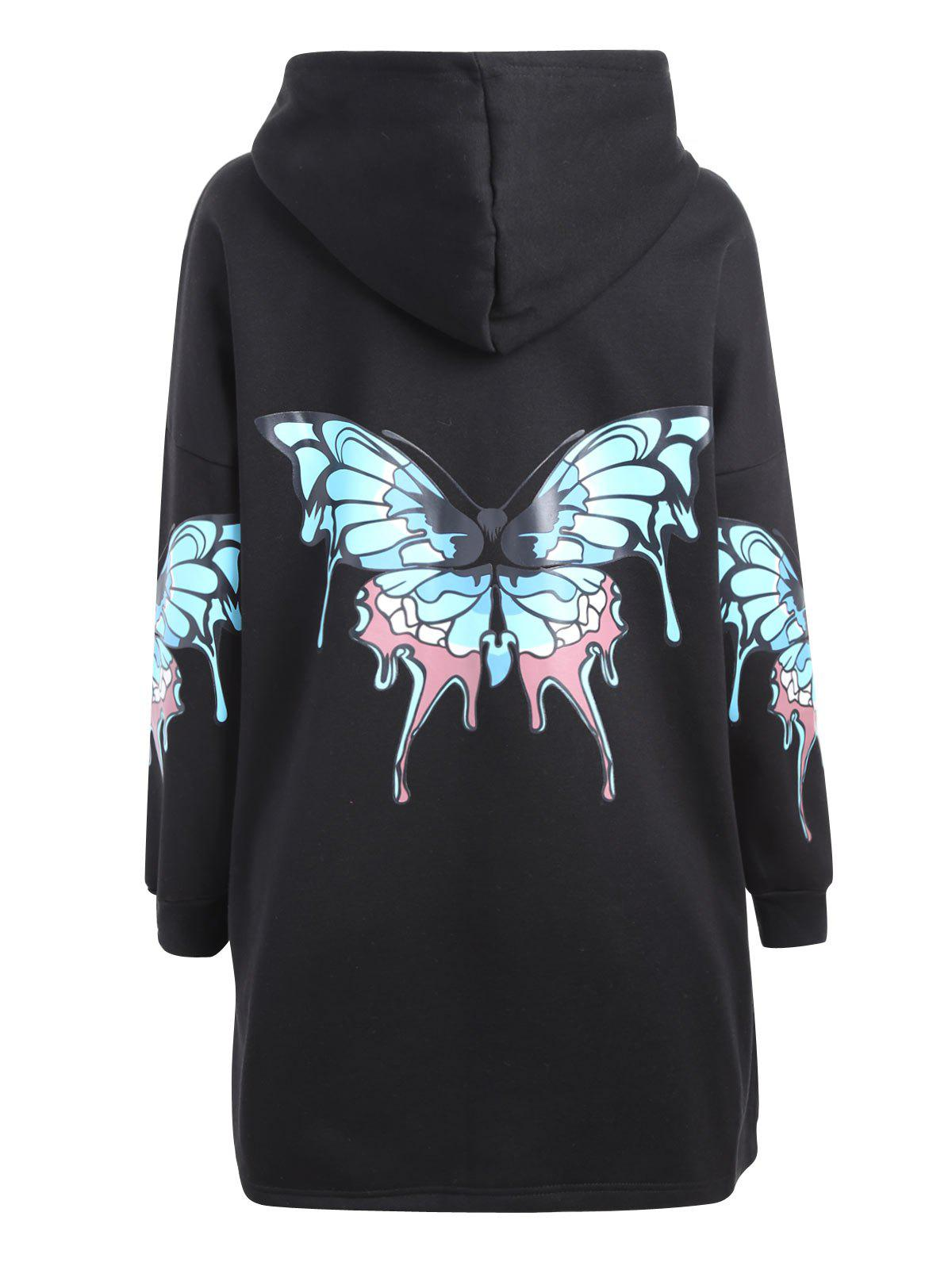 Plus Size Butterfly Printed Zip Up Hooded CoatWOMEN<br><br>Size: 5XL; Color: BLACK; Clothes Type: Others; Material: Cotton Blends,Polyester; Type: Slim; Shirt Length: Long; Sleeve Length: Full; Collar: Hooded; Closure Type: Zipper; Pattern Type: Insect; Embellishment: Front Pocket; Style: Casual; Season: Fall,Winter; Weight: 0.6900kg; Package Contents: 1 x Coat;