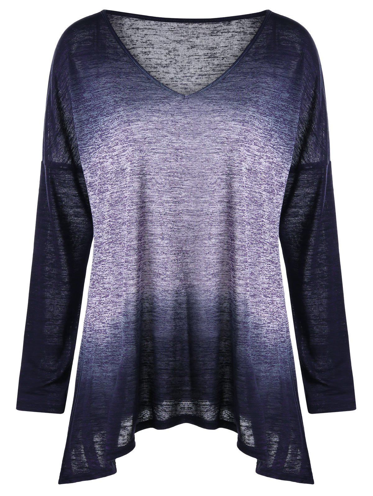 Plus Size Long Sleeve Drop Shoulder Ombre T-shirtWOMEN<br><br>Size: 4XL; Color: COLORMIX; Material: Cotton,Polyester; Shirt Length: Regular; Sleeve Length: Full; Collar: V-Neck; Style: Casual; Season: Fall,Spring; Pattern Type: Ombre; Weight: 0.2500kg; Package Contents: 1 x T-shirt;