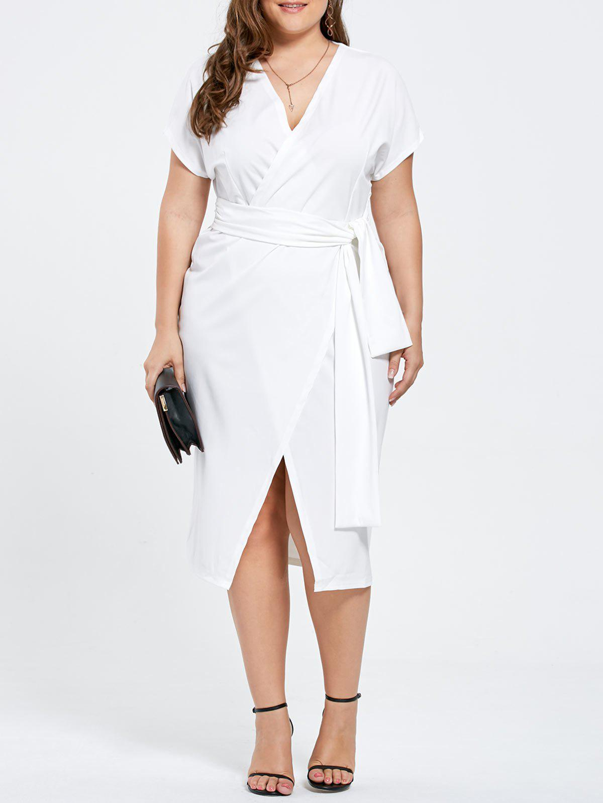 Long Midi Plus Size Short Sleeve Wrap Formal DressWOMEN<br><br>Size: 3XL; Color: WHITE; Style: Work; Material: Polyester; Silhouette: Sheath; Dresses Length: Mid-Calf; Neckline: V-Neck; Sleeve Length: Short Sleeves; Pattern Type: Solid; With Belt: No; Season: Fall,Spring; Weight: 0.4700kg; Package Contents: 1 x Dress;