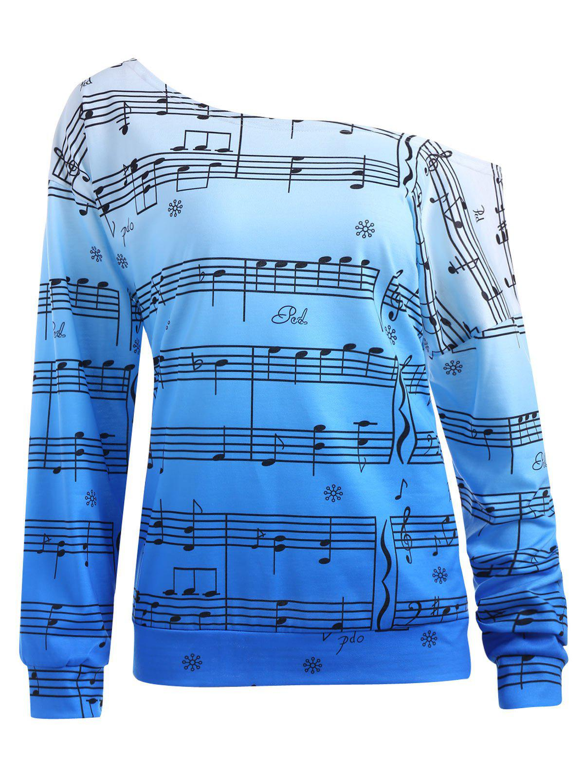 Plus Size Music Note Print Skew Neck SweatshirtWOMEN<br><br>Size: XL; Color: BLUE; Material: Cotton Blend,Polyester; Shirt Length: Regular; Sleeve Length: Full; Style: Fashion; Pattern Style: Ombre,Print; Season: Fall,Winter; Weight: 0.3200kg; Package Contents: 1 x Sweatshirt;