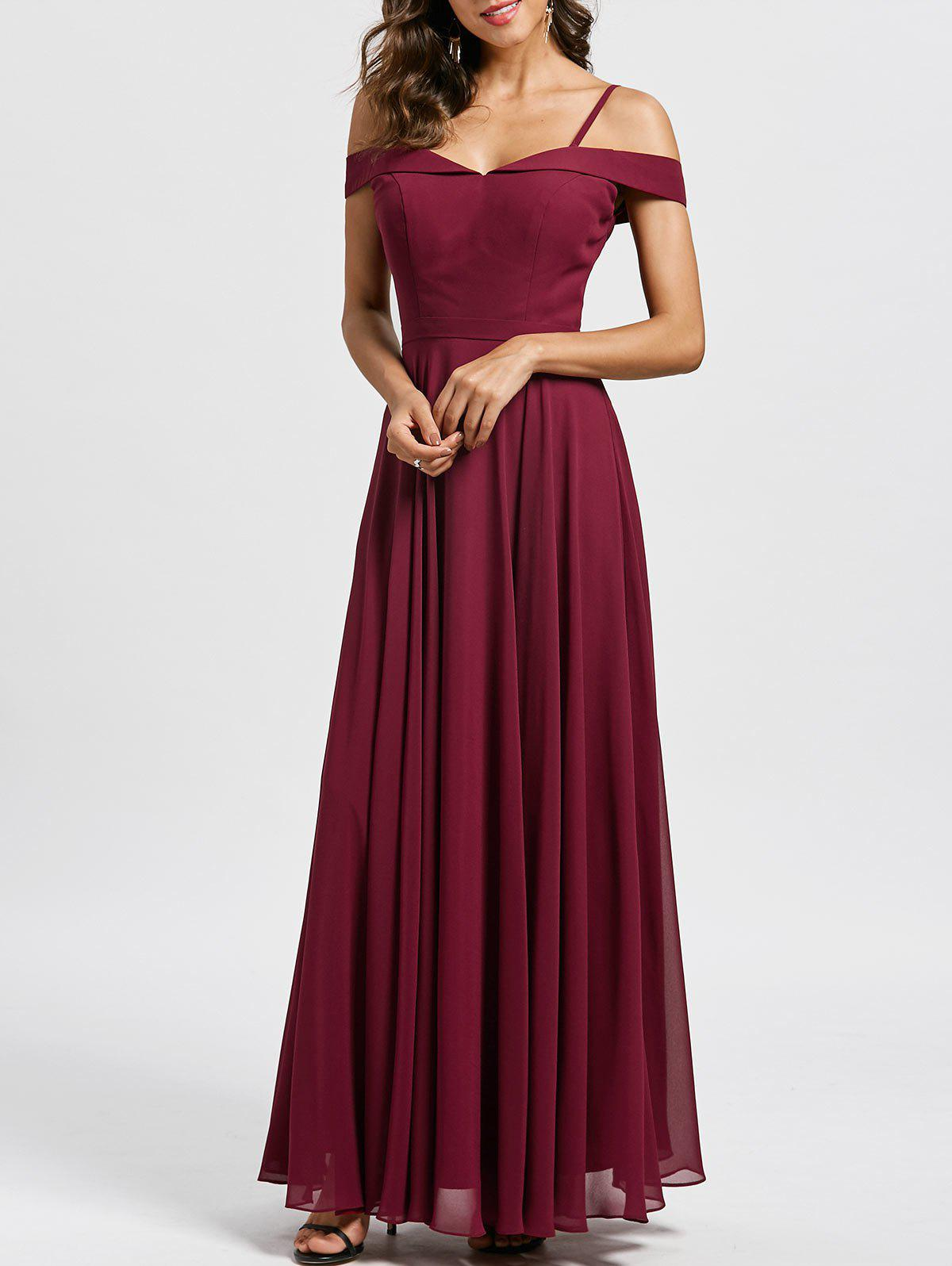 2018 Spaghetti Strap Cold Shoulder Formal Evening Dress In Wine Red ...