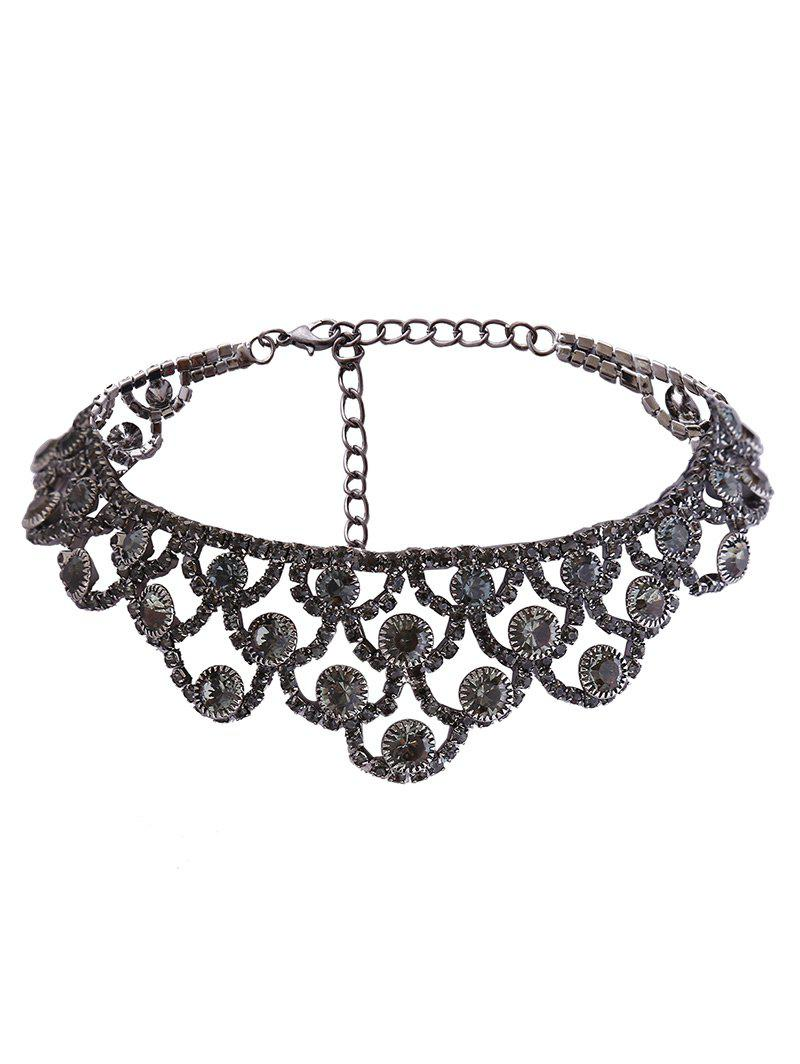 Alloy Rhinestone Sparkly NecklaceJEWELRY<br><br>Color: GUN METAL; Gender: For Women; Material: Rhinestone; Style: Noble and Elegant; Shape/Pattern: Geometric; Length: 40CM; Weight: 0.0400kg; Package Contents: 1 x Necklace;