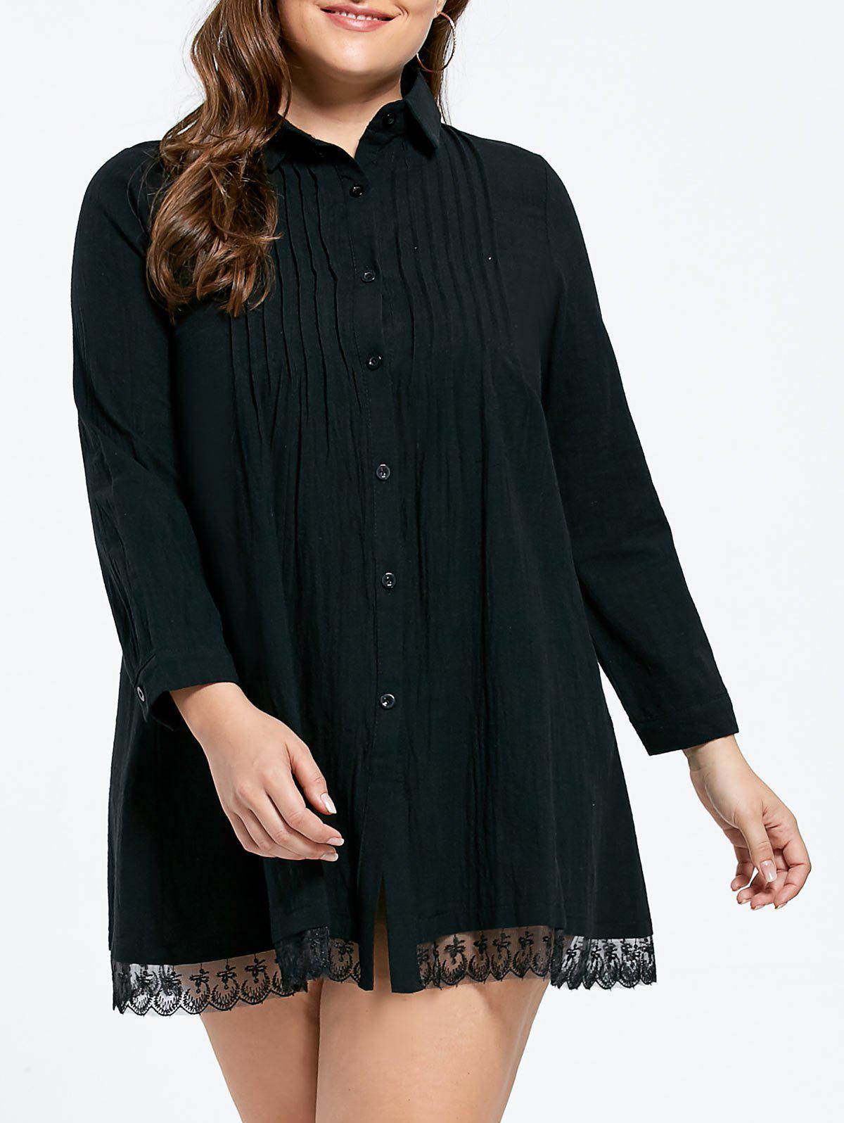 2018 Lace Trim Pleated Plus Size Babydoll Shirt Dress In Black 5xl