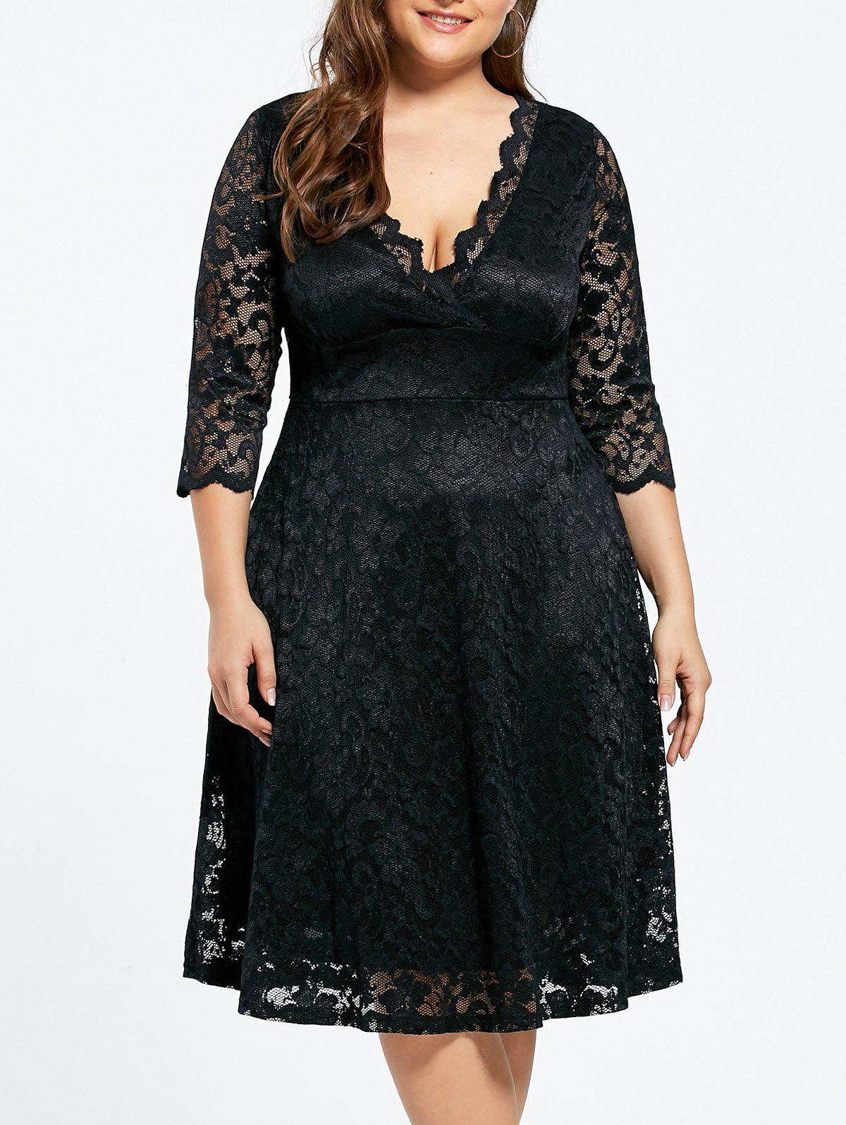 Plus Size Lace Maid of Honor DressWOMEN<br><br>Size: 5XL; Color: BLACK; Style: Cute; Material: Polyester; Silhouette: Straight; Dresses Length: Knee-Length; Neckline: V-Neck; Sleeve Length: 3/4 Length Sleeves; Embellishment: Lace; Pattern Type: Solid; With Belt: No; Season: Fall,Spring; Weight: 0.4400kg; Package Contents: 1 x Dress;