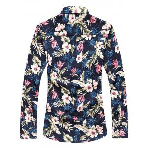 Floral Print Long Sleeve Plus Size Shirt - COLORMIX 5XL