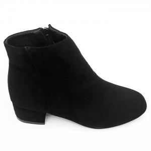 Side Zipper Faux Suede Ankle Boots - BLACK 39