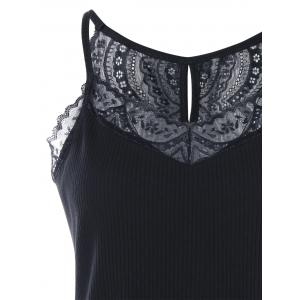Lace Insert Ribbed Knitted Tank Top -