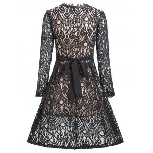 A Line Lace Dress with Sleeves - BLACK M