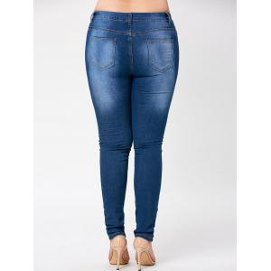 Ripped Knee Plus Size Floral Embroidered Jeans - DENIM BLUE 2XL