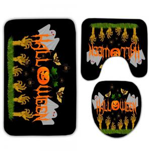 3PCS Halloween Ghost Pumpkin Toilet Bath Rugs Set -