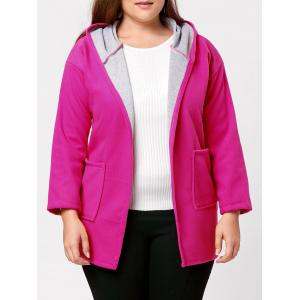 Hit Color Long Hooded Plus Size Coat -